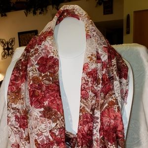 Accessories - Cream Pink and Wine Floral Fringed Scarf Wrap